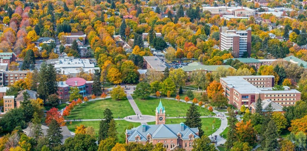 Fall colors on the campus of the University of Montana campus.